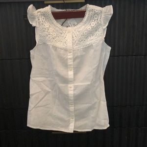H & M girl new shirt off white size 8/9
